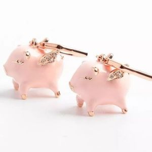 Kate Spade When Pigs Fly Rose Gold Pink Earrings